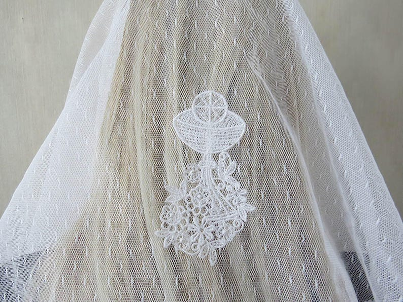 First Communion Veil Eucharist Embroidered White Lace image 0