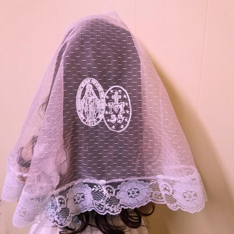 Girls Chapel Veil Mantilla in Pink and White with Miraculous image 0