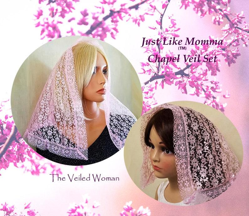 Mother Daughter Chapel Veil Set Pink Mantilla Set for image 0