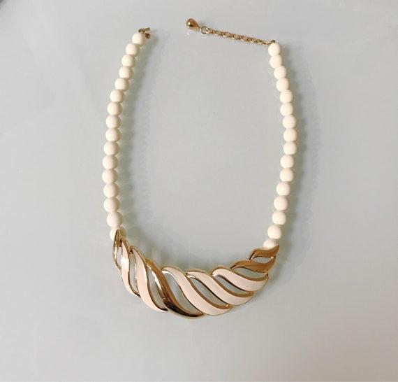 Vintage Monet Gold Enamel Cream 80's Necklace-Mint