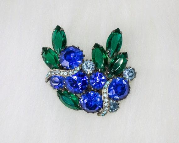 Vintage Green Blue Rhinestone Brooch