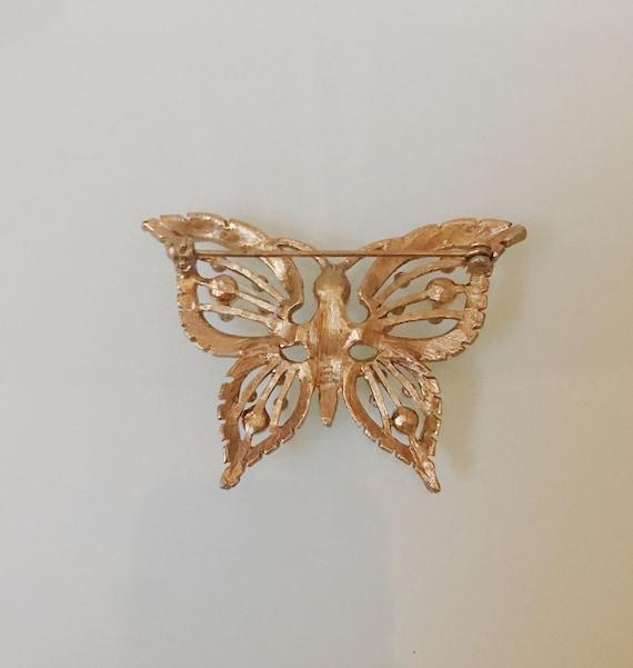 Vintage Pearl Butterfly Brooch - image 4