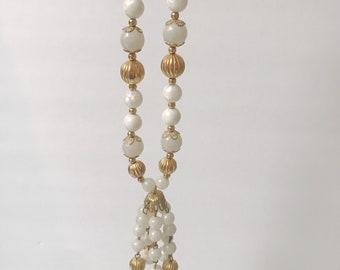 Vintage White Glass Bead Tassel Necklace