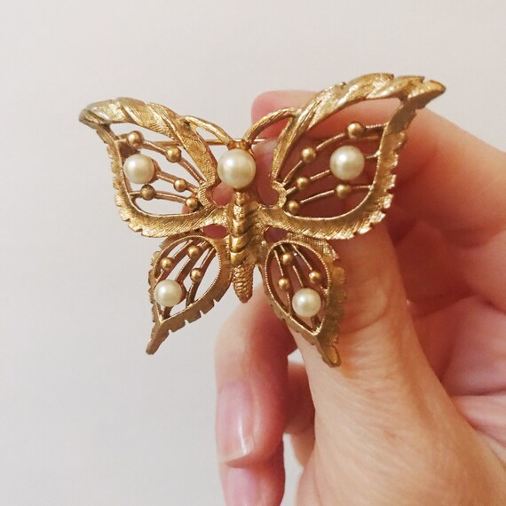 Vintage Pearl Butterfly Brooch - image 1