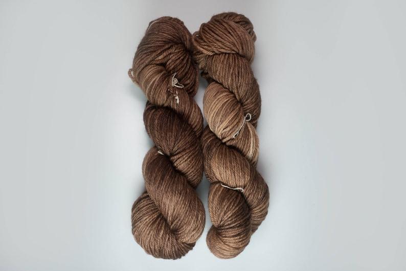 Golgothan semi solid tonal medium brown Medium Weight yarn Worsted weight merino yarn 100/% Superwash Merino Sweater weight yarn