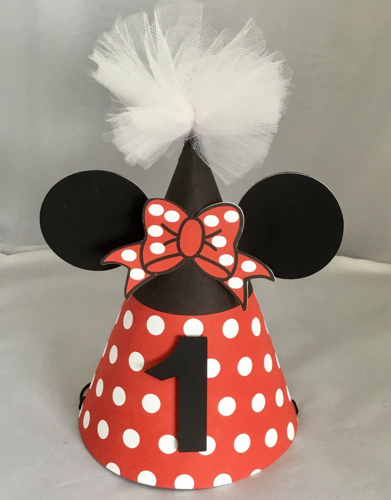 4220d94394445 Minnie Mouse Inspired Party Hat  1st Birthday  Personalized