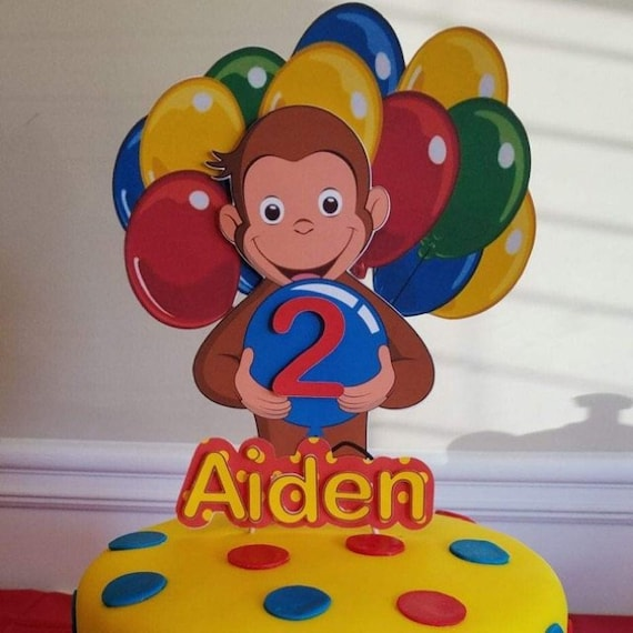 Terrific Curious George Cake Topper Personalized Topper Etsy Funny Birthday Cards Online Sheoxdamsfinfo
