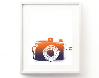 camera poster, gift for photographer, digital print, photography art print, orange blue decor, ombre, boys room decor, baby nursery wall art
