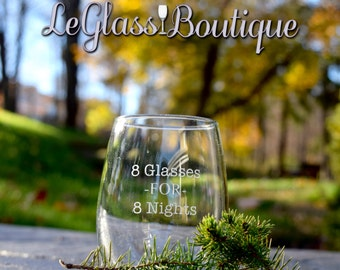 8 Glasses For 8 Nights Stemless Wine Glass