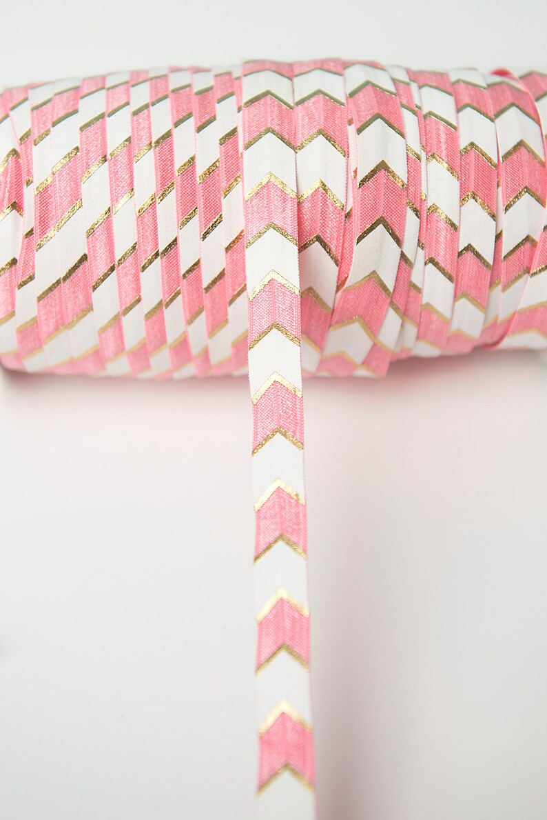 pink chevron foe wholesale pink arrow fold over elastic white chevron foe pink fold over elastic gold printed foe gold foil elastic