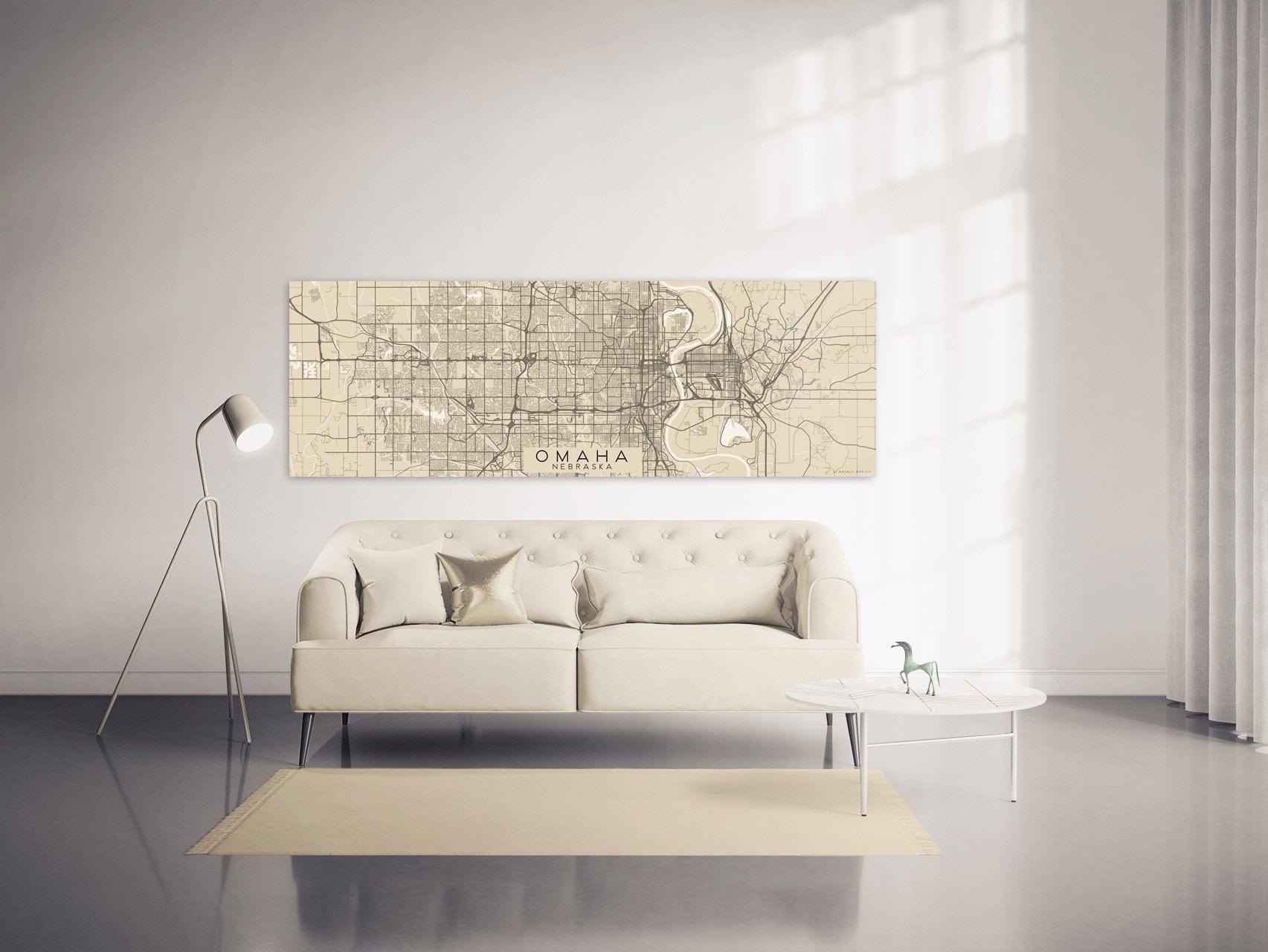 OMAHA NE Canvas Print Ready to Hang Nebraska City Map Large Oversized  Horizontal Wall Art Panoramic Simple Minimal Home Decor Gift for Home
