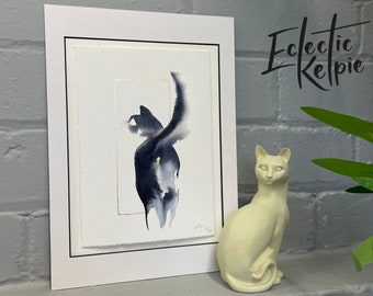 Watercolour Tuxedo Sassy Cat, Fine-Art Print - Hand Finished with Gold Leaf - Minimalistic & Contemporary- Ltd ed 50