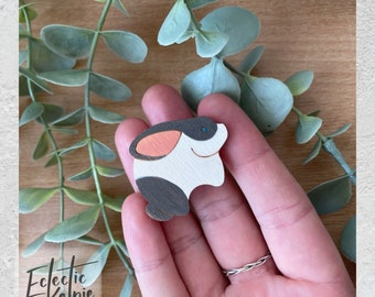 Hand-Painted Rabbit Brooch/Fridge Magnet - Laser Cut Birch Wood - Scarf Pin Gift/Office Organisation - Cute, Contemporary & Stylised