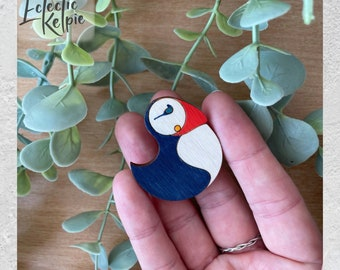 Hand-Painted Puffin Brooch/Fridge Magnet - Laser Cut Birch Wood - Scarf Pin Gift/Office Organisation - Cute, Contemporary & Stylised