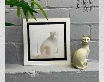 Watercolour Ragdoll Sitting Cat, Fine-Art Print - Hand Finished with Gold Leaf - Minimalistic & Contemporary- Ltd ed 50