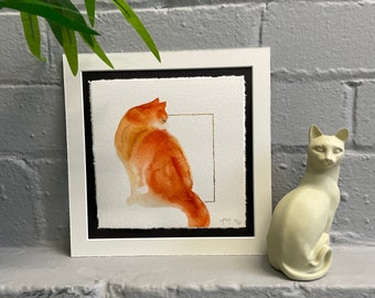 Watercolour Ginger Sitting Cat, Fine-Art Print - Hand Finished with Gold Leaf - Minimalistic & Contemporary- Ltd ed 50