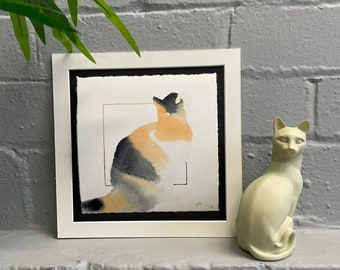 Watercolour Calico Sitting Cat, Fine-Art Print - Hand Finished with Gold Leaf - Minimalistic & Contemporary- Ltd ed 50