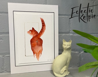 Watercolour Ginger Sassy Cat, Fine-Art Print - Hand Finished with Gold Leaf - Minimalistic & Contemporary- Ltd ed 50