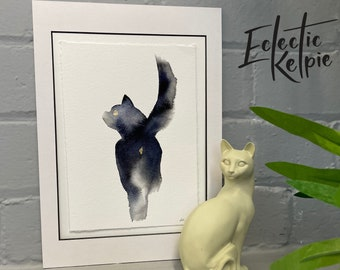 Watercolour Black Sassy Cat, Fine-Art Print - Hand Finished with Gold Leaf - Minimalistic & Contemporary- Ltd ed 50