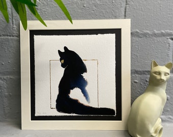 Watercolour Tuxedo Sitting Cat, Fine-Art Print - Hand Finished with Gold Leaf - Minimalistic & Contemporary- Ltd ed 50