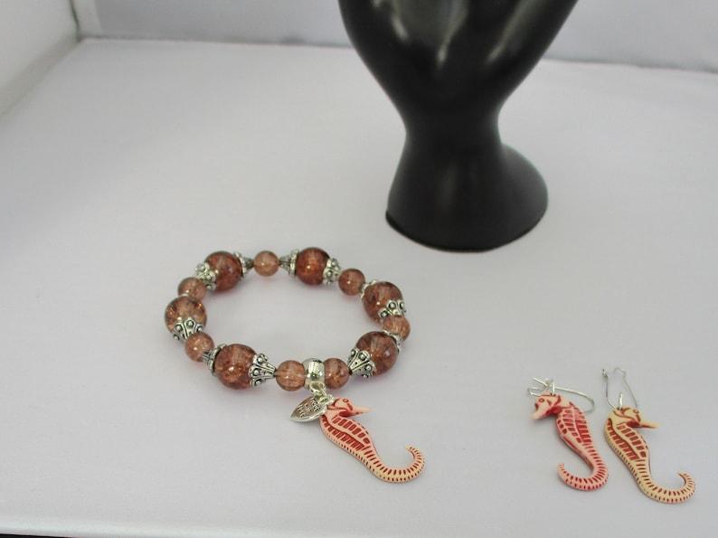 BROWN /& METAL bead bracelet earring set seahorse