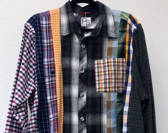 Reconstructed Sustainable Eco-Friendly Streetwear Flannel Shirt XL Recycled Flannel Shirts by Rose Soma Unisex Shirts