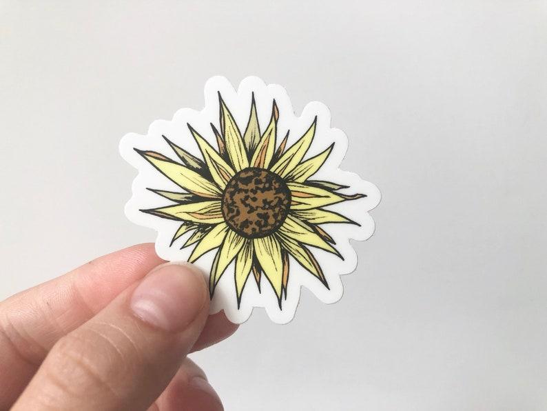 Waterproof Sunflower Sticker Mini Yellow Cute Sunflower VSCO Sticker Cute  Water Bottle Stickers