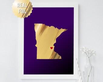 Minnesota Art - Minnesota State Map - Minnesota Vikings - Real Gold Foil - Minnesota Art Print - Minnesota Poster - Viking Pride Gold Purple