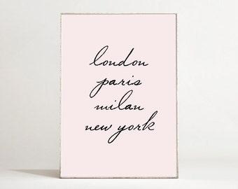 Glam Decor Typography Poster - London, Paris, Milan, New York - Typographic Print - Fashion Wall Art - Fashion Decor - Chic Office Decor