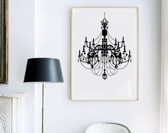 Chandelier Wall Art - Crystal Chandelier Print Wall Decor - Modern Wall Art - Home Decor - Glam Bedroom Decor - Chandelier Poster - Black