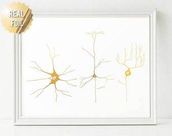 Neuroscience Neuron Art Gold Foil Print - Greys Anatomy Neuroscience Art - Nerve Cells Cell Biology, Brain Cell Wall Art Print Neuro Science