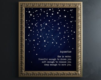 50aaa6fff20bc7 Aquarius Gift - Metal Silver Foil Print - Aquarius Zodiac Sign Poster -  Aquarius Constellation Astrology Sign Art - February Birthday Gifts