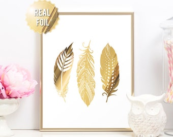 Feather Print - Feather Boho Wall Art - Gold Foil Print - Feathers Artwork Tribal Wall Art - Tribal Print - Tribal Wall Decor Gold Feathers