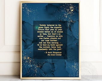 F Scott Fitzgerald Quote Wall Art - Great Gatsby Quote Art Print - Inspirational Wall Art - So We Beat On Boats Against the Current, Daisy