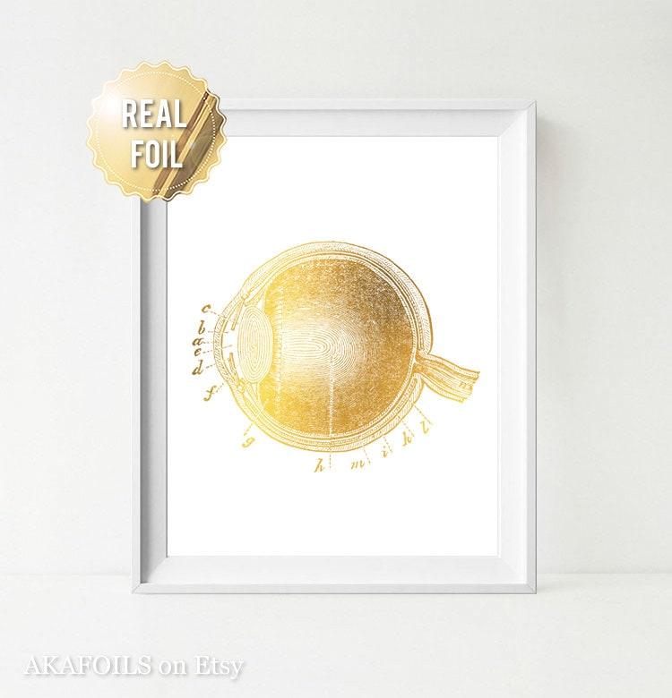 Optometrie Kunst Optiker Geschenk Goldfolie Print