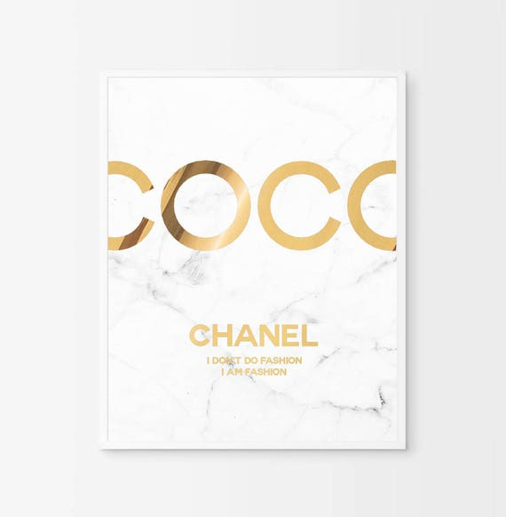 2bcab95ae13 Coco Chanel Poster Real Gold Foil Chanel Print Coco Chanel
