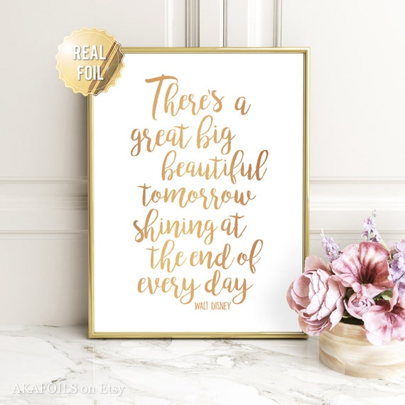 Disney Quote Wall Art Walt Disney Quote Prints Gold Foil Etsy Impressive Quotes Wall Art