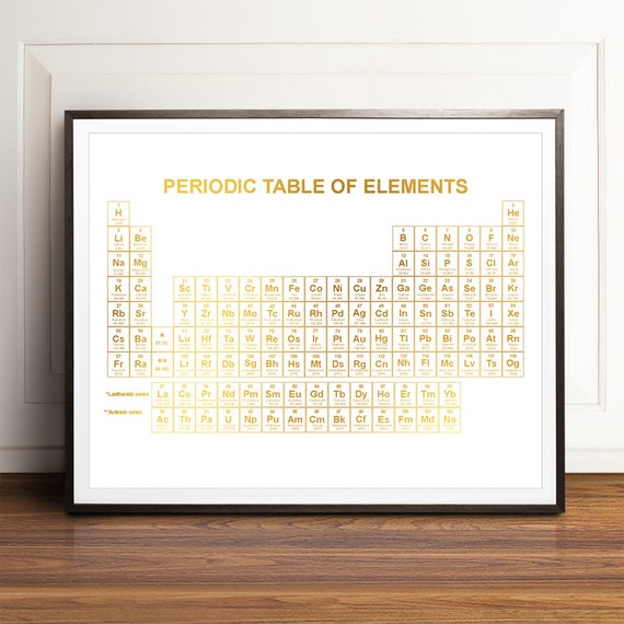 Periodic Table Of Elements Poster Gold Periodic Table Wall Etsy