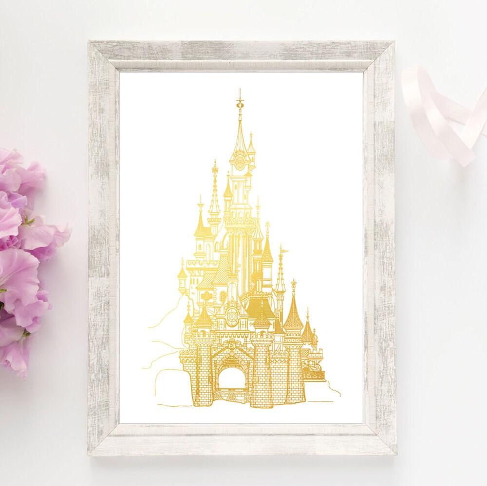 Disney Castle Cinderella\'s Castle Print Gold Foil Print | Etsy