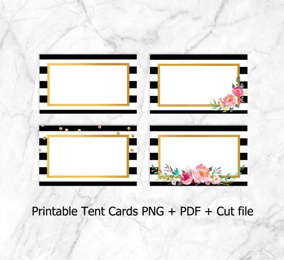 picture regarding Printable Tent Cards titled Printable Tent Playing cards, Meals tents, Level Playing cards, Get together decor, Bridal, bachelorette, Birthday, celebration printables, black white, stripes, stylish