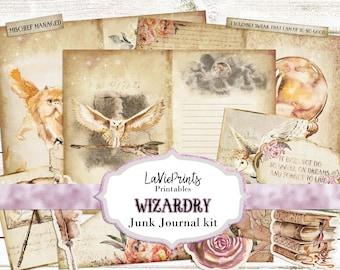 Magic Junk Journal Kit, Printable Wizard journal, Digital junk Journal kit, Printable ephemera Paper Collage Sheets, Potter junk journal