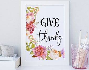 Fall printable, wall art, Thanksgiving wall art, Gratitude quote, Printable Thanksgiving sign, Autumn wall art, Floral wreath, Typography
