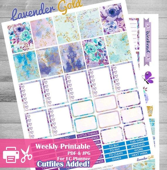 Erin Condren Planner Stickers Lavender Fields Planner Sticker Kits Summer Planner Stickers Pastel Weekly Stickers Kit    WK144