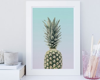 Pineapple wall art, pineapple wall art, Tropical print, Fruit wall art print, Pineapple decor, Modern print, Scandinavian print, printable
