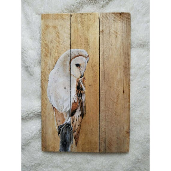 Barn owl art, Pallet wall art, Painted wood pallet, Reclaimed wood, Recycled wood, Handmade pallet