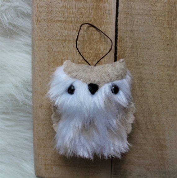 Fluffy white and tan owl ornament, Fluffy keychain, Owl keychain, Owl ornament, Woodland decor, Gift for her, Small gift, Felt owl