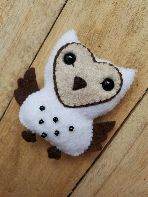 Felt barn owl, Owl ornament, Owl gift, Nursery decor, Felt plushie, Felt toy