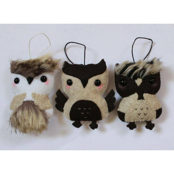 Set of Three Brown Woodland Owl Felt Ornaments, Owl keychains, Christmas ornaments, Felt toy, Christmas gift, tree ornament, Nursery decor