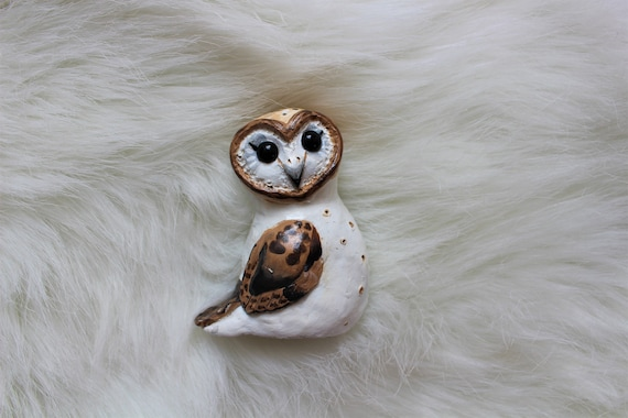 Hand painted polymer clay barn owl, Owl figuring, Clay owl, Barn owl art, Owl decor, Woodland animals, Hand sculpted figurine, Sculpture