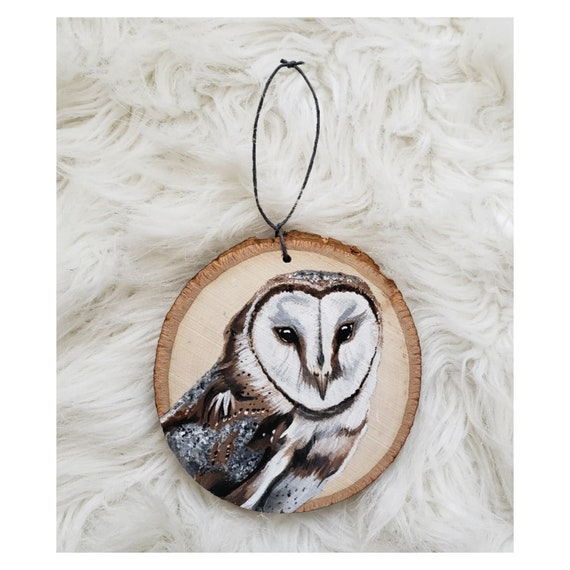 Barn owl wood slice ornament, Rustic owl ornament, Barn owl painting, Owl art, Woodland animal decorations, Woodland animal ornament